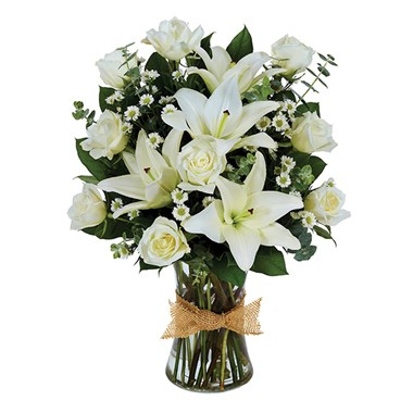 Tribute Mixed Vase Arrangement - All White (BF329-11)